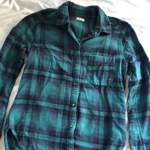 hollister green flannel